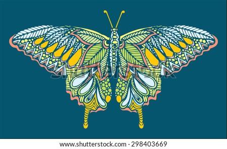 zentangle style butterfly vector - stock vector