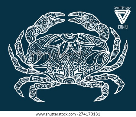 zentangle style crab vector illustration - stock vector