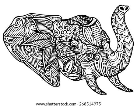 Zentangle style elephant vector - stock vector