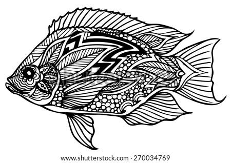 zentangle  style fish vector - stock vector