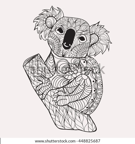 Zentangle Style Koala Black White Hand Stock Vector
