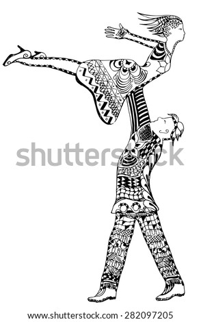 Zentangle style, man holding woman up in air, vector, freehand, illustration - stock vector