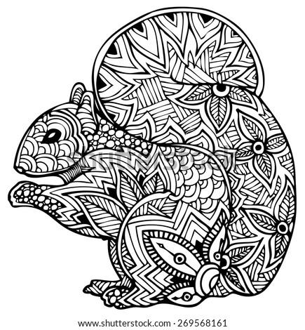 zentangle style vector squirrel - stock vector