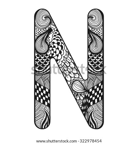 zentangle coloring pages letter n | Zentangle Stylized Alphabet Lace Letter N Stock Vector ...