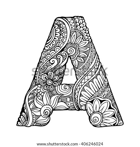 adult coloring pages letter a | Zentangle Stylized Alphabet Letter A Vector Stock Vector ...
