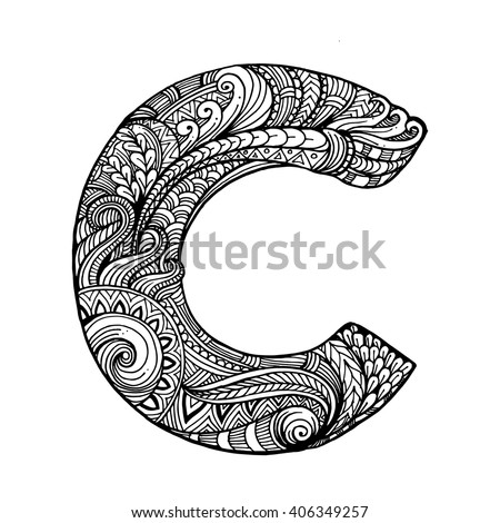 86 Zentangle Alphabet Coloring Page