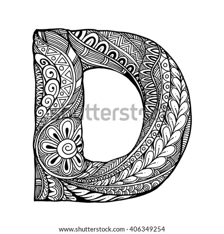 zentangle stylized alphabet letter d vector stock vector