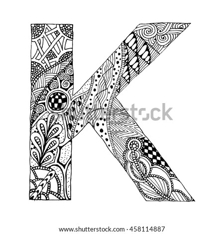 Zentangle Stylized Alphabet Letter K In Doodle Style Hand Drawn Sketch Font Vector