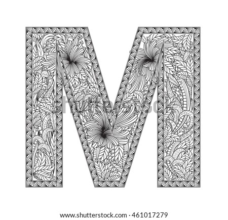 zentangle coloring pages letter n | Zentangle Font Stock Photos, Royalty-Free Images & Vectors ...