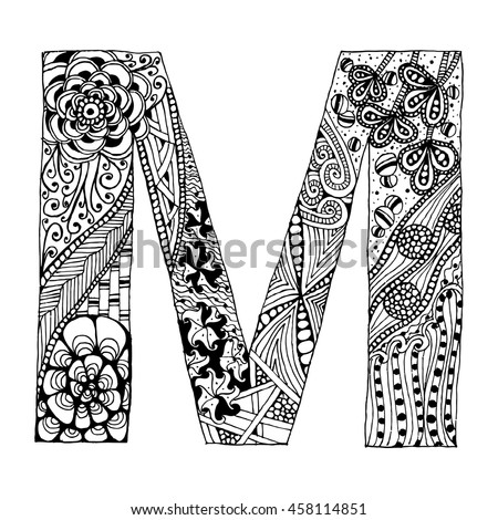 Zentangle Stylized Alphabet Letter M In Doodle Style Hand Drawn Sketch Font Vector
