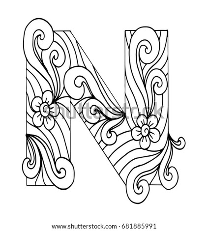 Zentangle Stylized Alphabet Letter N In Doodle Style Hand Drawn Sketch Font Vector