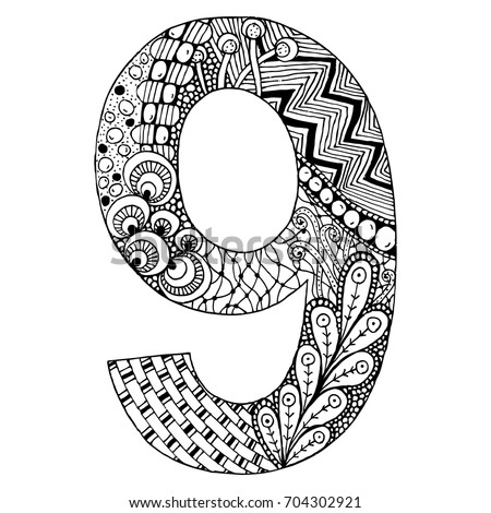 Zentangle Stylized AlphabetNumber 9 In Doodle Style Hand Drawn Sketch Font Vector