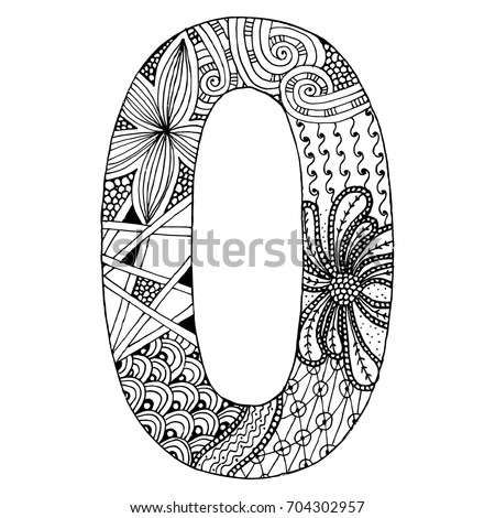 Zentangle Stylized Alphabet Number 0 Doodle Style Stock Vector HD