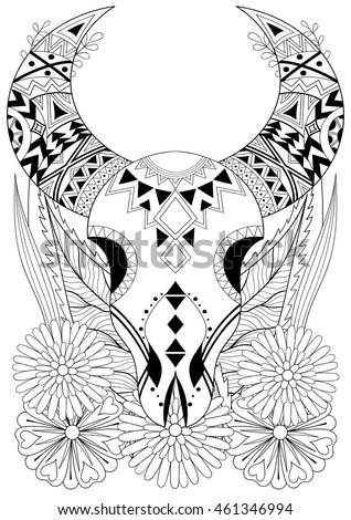Zentangle Stylized Animal Skull With Flowers Hand Drawn Ethnic For Adult Coloring Pages