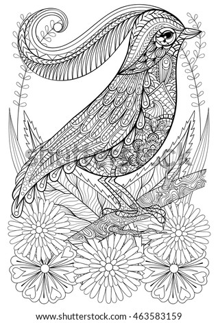 A4 Colouring Pages To Print For Adults : Exotic zentangle cockatoo parrot adult anti stock vector 551139217