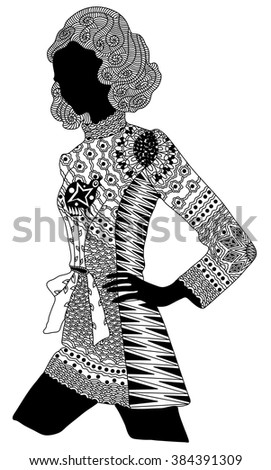 Zentangle stylized black girl. Hand Drawn vector illustration. Books or tattoos with high details isolated on white background.  - stock vector