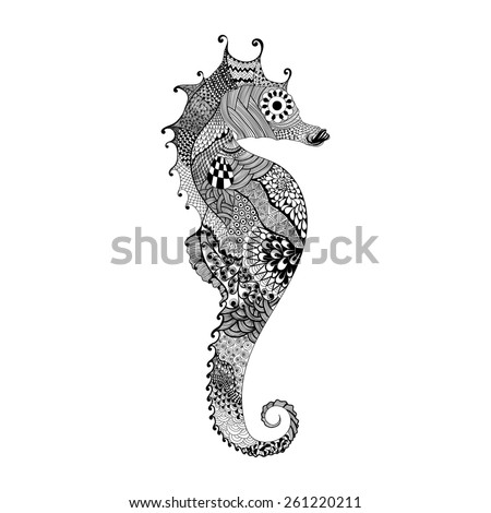 Zentangle stylized black Sea Horse. Hand Drawn vector illustration isolated on white background. Sketch for tattoo or makhenda. Sea collection. - stock vector