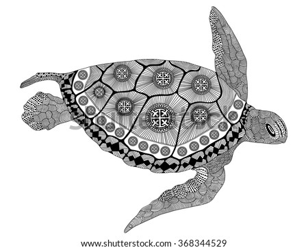 Zentangle stylized black turtle. Hand Drawn vector illustration. Coloring books or tattoos with high details isolated on black background. Collection of reptiles. - stock vector