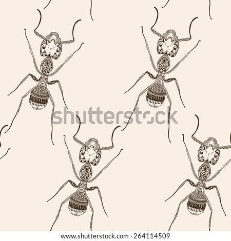 Zentangle stylized Brown Ant seamless pattern. Hand Drawn Termite vector illustration. Sketch for tattoo or makhenda. Insect collection. - stock vector