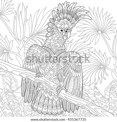 Zentangle stylized cartoon cockatoo parrot in tropical forest jungle. Hand drawn sketch for adult antistress coloring page, T-shirt emblem, logo, tattoo with doodle, zentangle, floral design elements. - stock vector