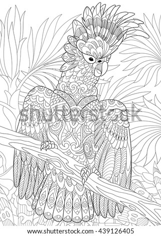 Zentangle stylized cartoon cockatoo parrot in tropical forest jungle. Hand drawn sketch for adult antistress coloring book page, T-shirt emblem, logo, tattoo with doodle, zentangle design elements. - stock vector