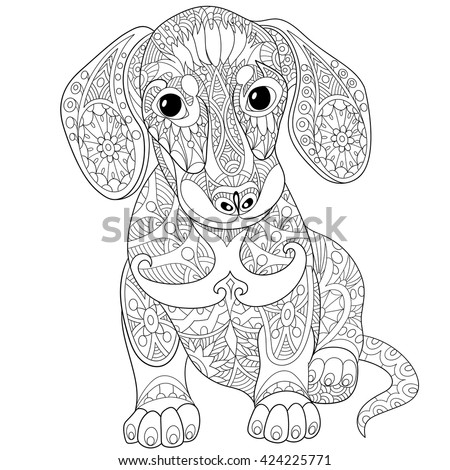 Zentangle Stylized Cartoon Dachshund Dog Isolated On White Background
