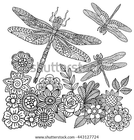 Zentangle Stylized Cartoon Dragonfly Insect Flying Stock ...