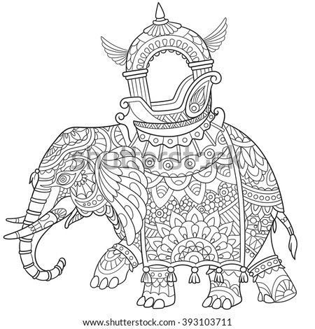 Zentangle stylized cartoon elephant and paisley symbols isolated on white background. Sketch for adult antistress coloring page. Hand drawn doodle, zentangle, floral design elements for coloring book. - stock vector