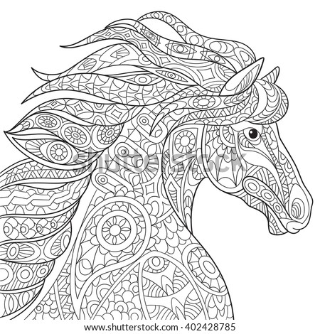 Zentangle stylized cartoon horse (mustang), isolated on white background. Hand drawn sketch for adult antistress coloring page, T-shirt emblem, logo or tattoo with doodle, zentangle design elements.