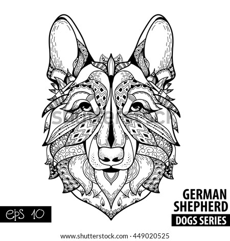 zentangle stylized cartoon of german shepherd hand drawn sketch for adult antistress coloring page - German Shepherd Coloring Pages