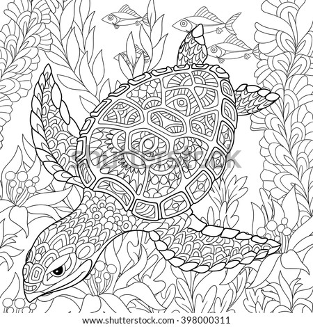 Zentangle stylized cartoon turtle swimming among sea algae. Hand drawn sketch for adult antistress coloring page, T-shirt emblem, logo or tattoo with doodle, zentangle, floral design elements. - stock vector
