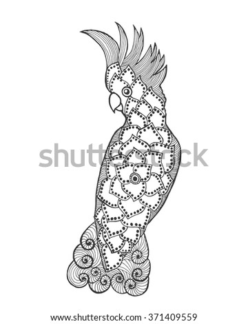 Zentangle stylized cockatoo. Bird. Black white hand drawn doodle. Ethnic patterned vector illustration. African, indian, totem, tribal design. Sketch for tattoo, poster, print or t-shirt. - stock vector