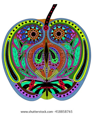 Zentangle stylized color  apple. Hand Drawn vector illustration. Books or tattoos with high details isolated on white background. Collection of fruits. - stock vector