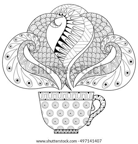 Zentangle Stylized Cup Tea Steam Hot Stock Vector ...