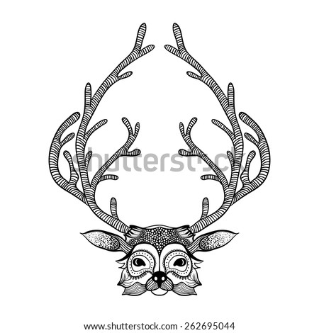 Deer Face Coloring Pages. Zentangle stylized deer face  Hand Drawn tribal totem for adult anti stress coloring pages Stylized Deer Face Stock Vector 262695044