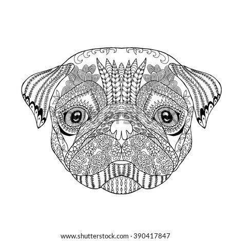 pug coloring pages for adults - zentangle stylized doodle vector pug dog stock vector