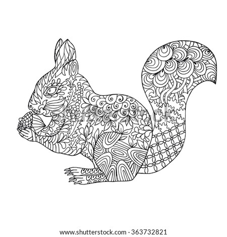 Zentangle Stylized Doodle Vector Of Squirrel Zen Pattern Drawing Style Illustration Isolated On White