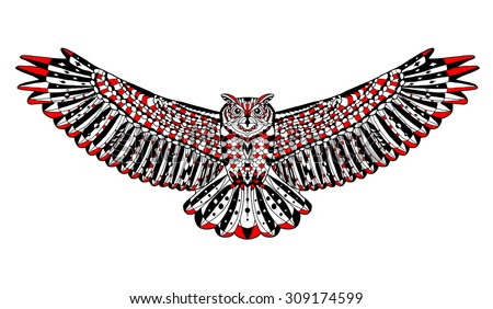 Zentangle stylized eagle owl. Animal collection. Hand drawn doodle. Ethnic patterned vector illustration. African, indian, totem, tatoo, tribal design. Sketch for tattoo, posters, prints or t-shirt. - stock vector