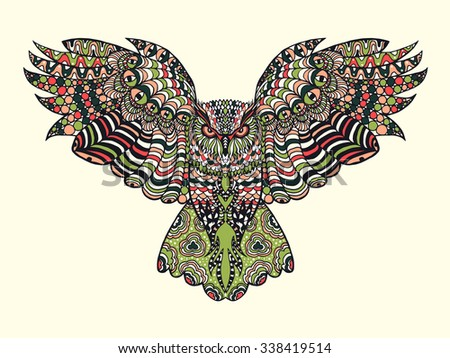 Zentangle Stylized Eagle Owl Colorful Hand Stock Vector