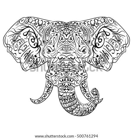 Zentangle stylized ethnic indian elephant boho stock for Paisley elephant coloring pages