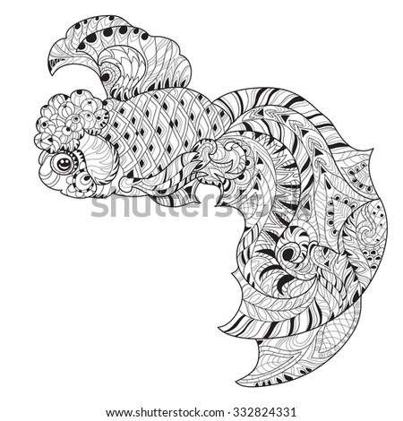 Zentangle Stylized Floral China Fish Doodle Hand Drawn Isolated Layered Vector Illustration Sketch For