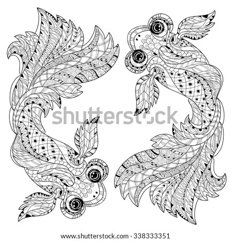 china fish doodle. Hand Drawn vector illustration. Sketch for tattoo ... | 450 x 470 jpeg 74kB