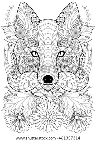 Zentangle Stylized Fox Moustache On Flowers Stock Vector 461357314 ...