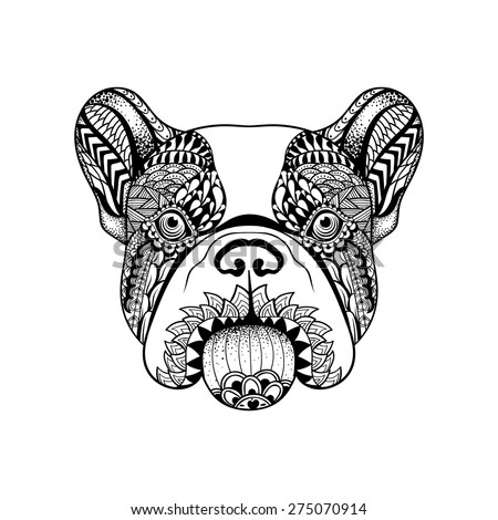 Volwassen Kleurplaat Kat Zentangle Stylized French Bulldog Face Hand Stock Vector