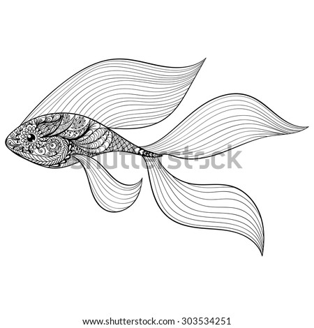 Zentangle stylized Gold Fish. Hand Drawn patterned vector illustration isolated on white background. Vintage sketch for tattoo design or makhenda. Sea art collection. - stock vector