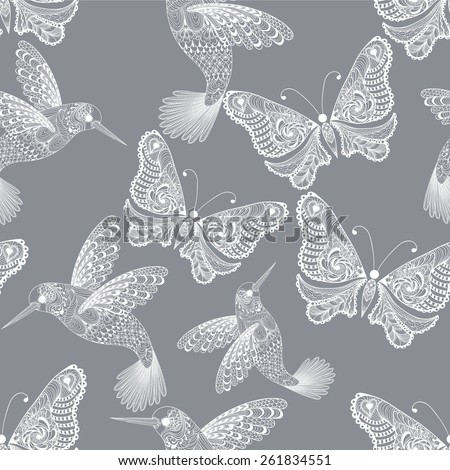 Zentangle stylized  Hummingbird and Butterfly seamless pattern. Hand Drawn vector illustration. Sketch for tattoo or makhenda. Bird collection. - stock vector