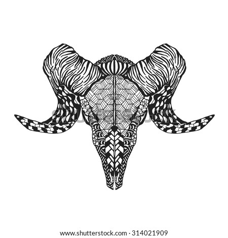 Zentangle stylized mutton sheep skull. Animals. Hand drawn doodle. Ethnic patterned vector illustration. African, indian, totem, tatoo design. Sketch for avatar, tattoo, posters, prints or t-shirt. - stock vector