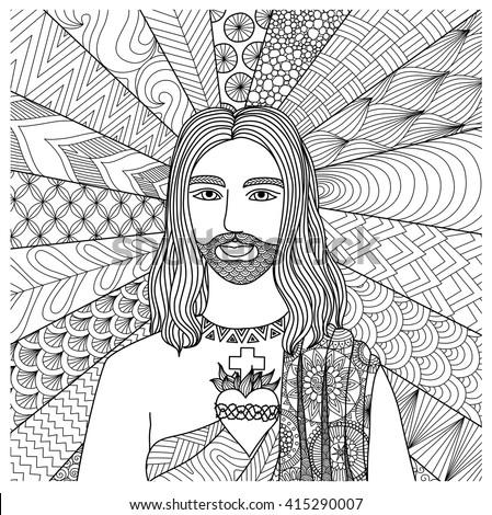 Zentangle Stylized Jesus Christ Coloring Book Stock Vector 415290007