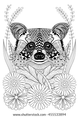 Zentangle Stylized Raccoon Head On Flowers Hand Drawn Ethnic Animal For Adult Coloring Pages