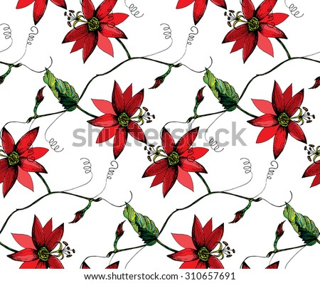 Zentangle stylized Red passion flower, leaf, bud & tendril seamless pattern on white background. Cloth & rug design. Red, Black, Green, White vector backdrop. Hand drawn engraved vintage illustration. - stock vector
